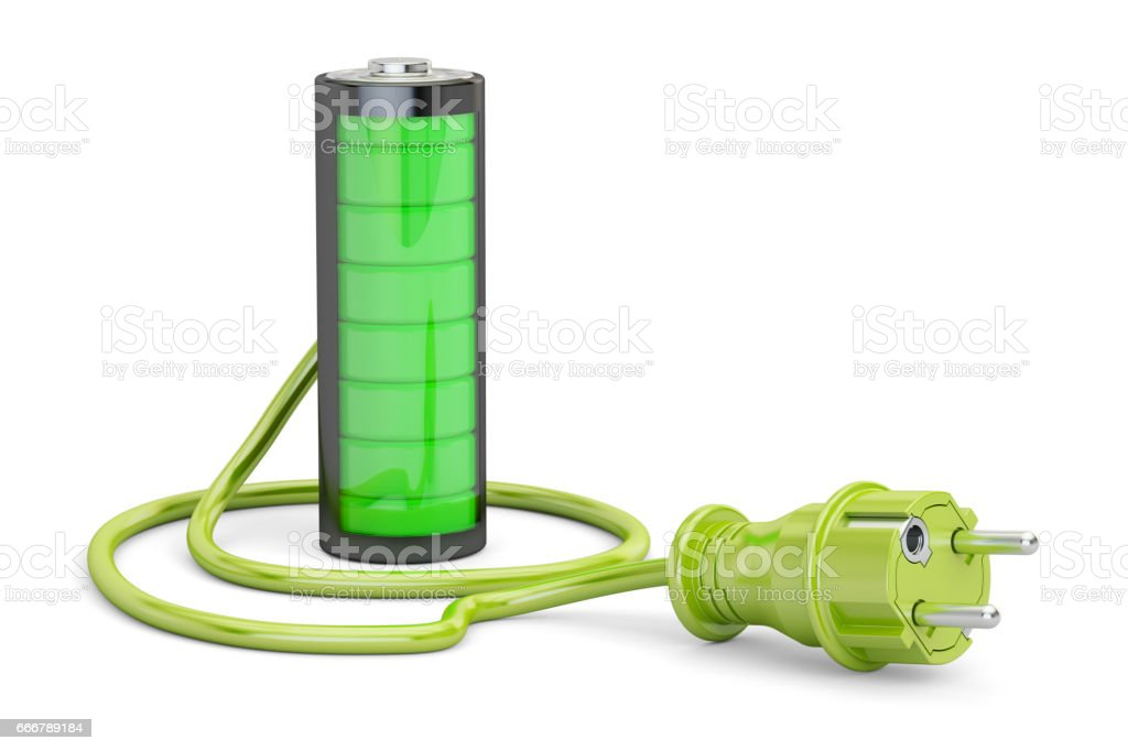 Battery charge concept, 3D rendering isolated on stock photo