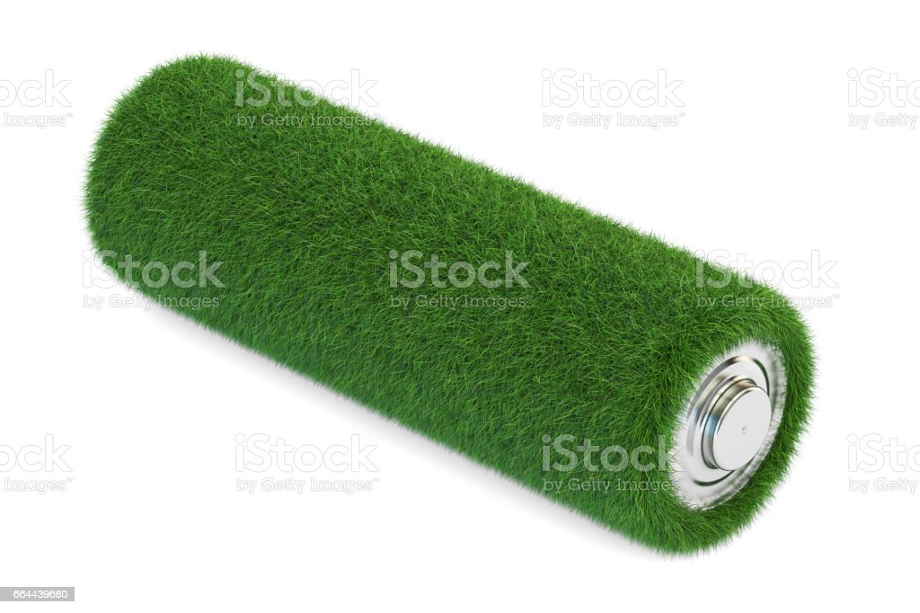 Battery from grass. Ecology, green energy concept, 3D rendering stock photo