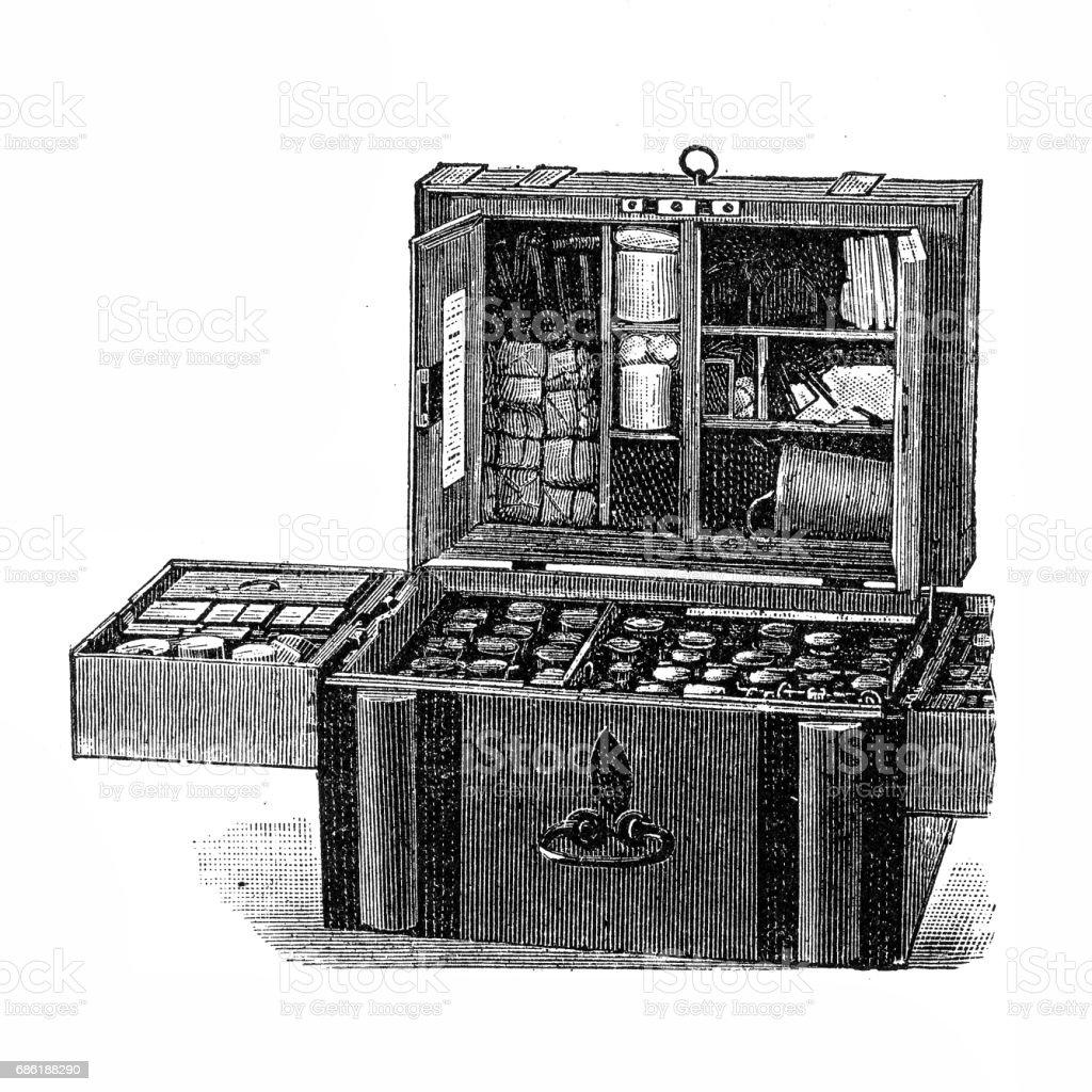 Battery - medicine and bandage box vector art illustration