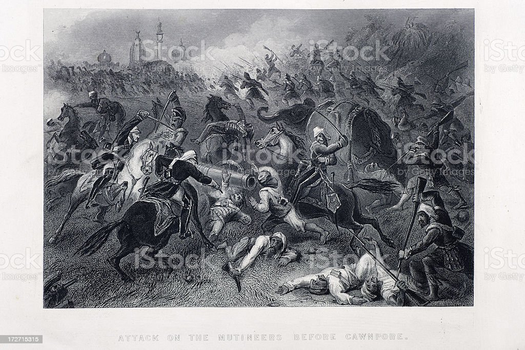 Battle at Cawnpore royalty-free stock vector art