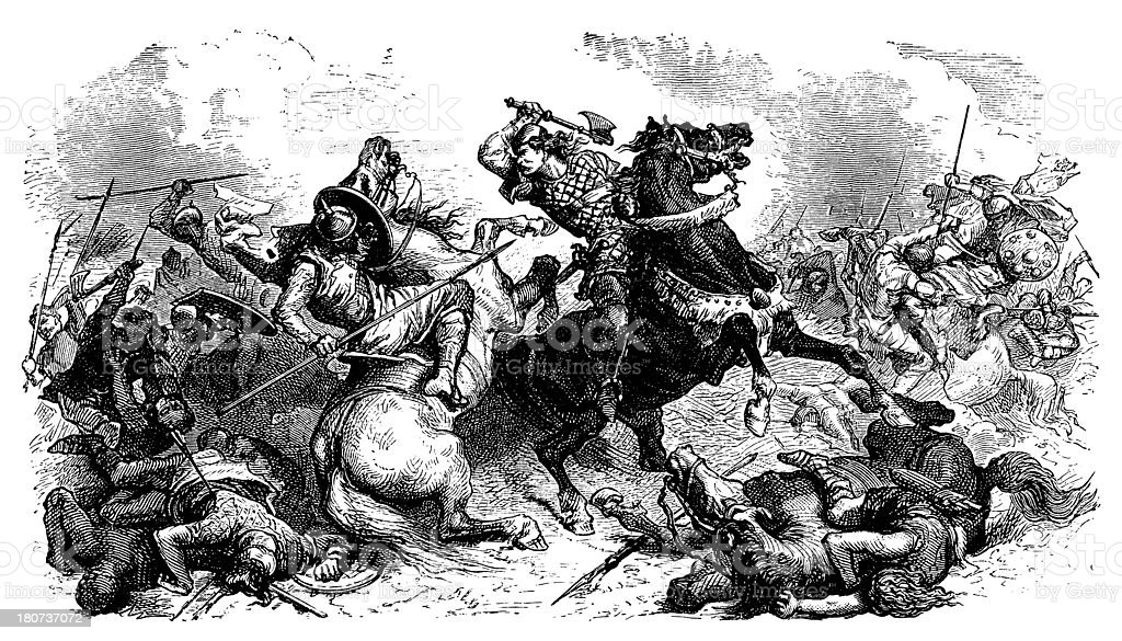Battle Between Franks And Saxons vector art illustration