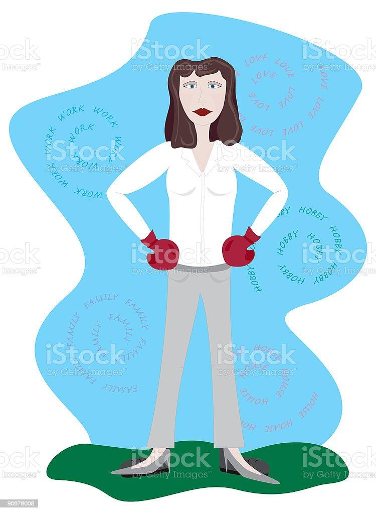 battle for timemanagement, working girl vector art illustration