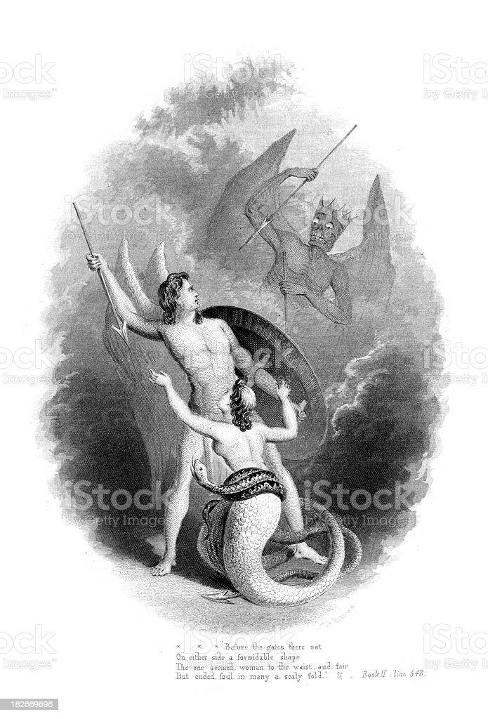 Battle in Heaven vector art illustration