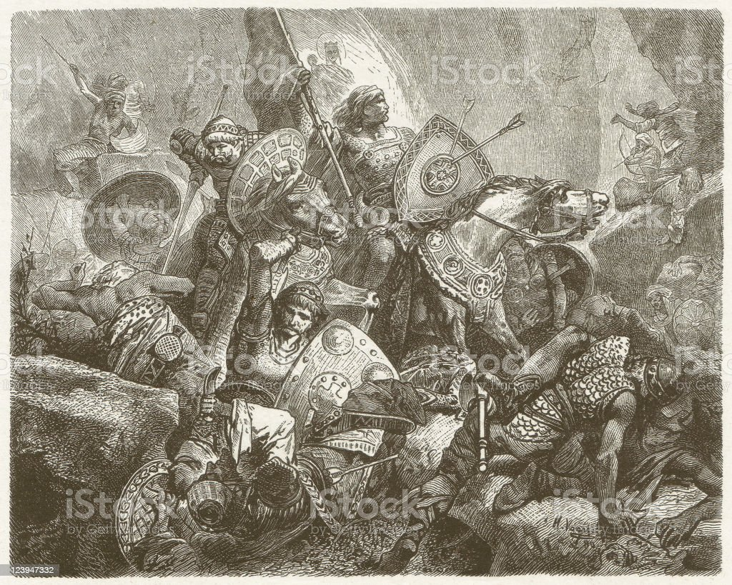 Battle in the Valley of Roncesvalles (778), published in 1881 vector art illustration