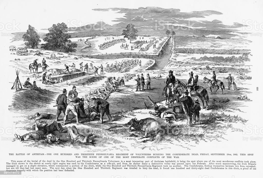 Battle of Antietam, Maryland, September 19, 1862 Civil War Engraving vector art illustration
