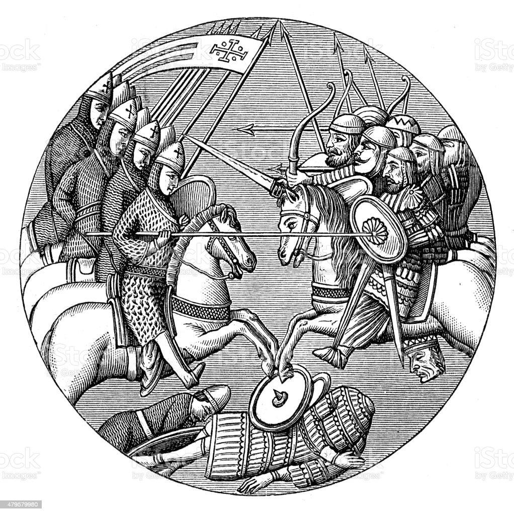 Battle of Ascalon engraving 1896 vector art illustration