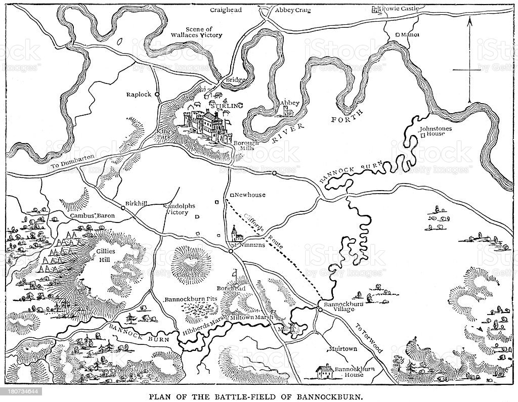 Battle of Bannockburn 1314 royalty-free stock vector art