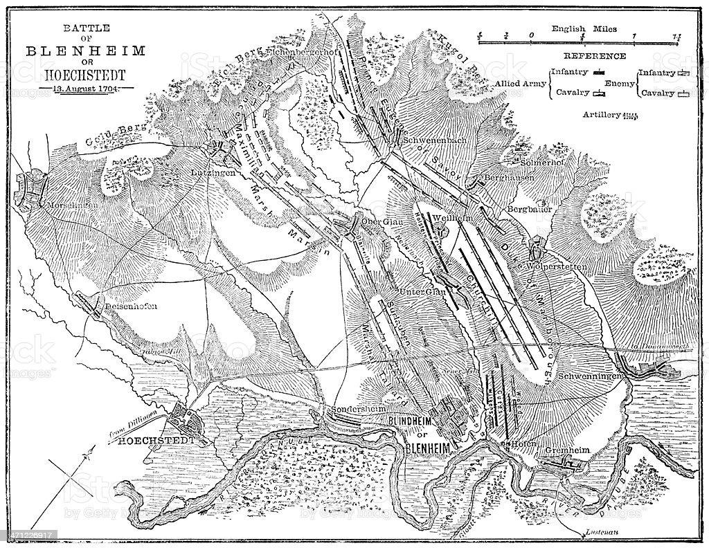 Battle of Blenheim (Hoechstedt) - map drawn in 1880 vector art illustration