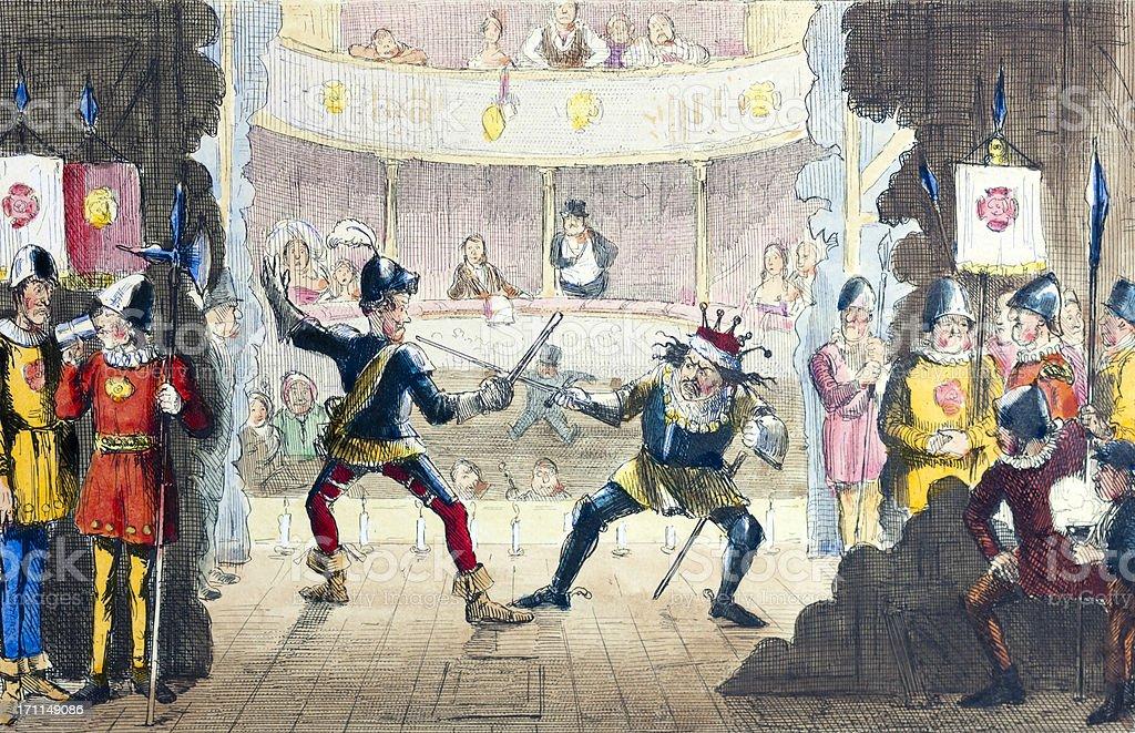 Battle of Bosworth on Stage Illustration vector art illustration