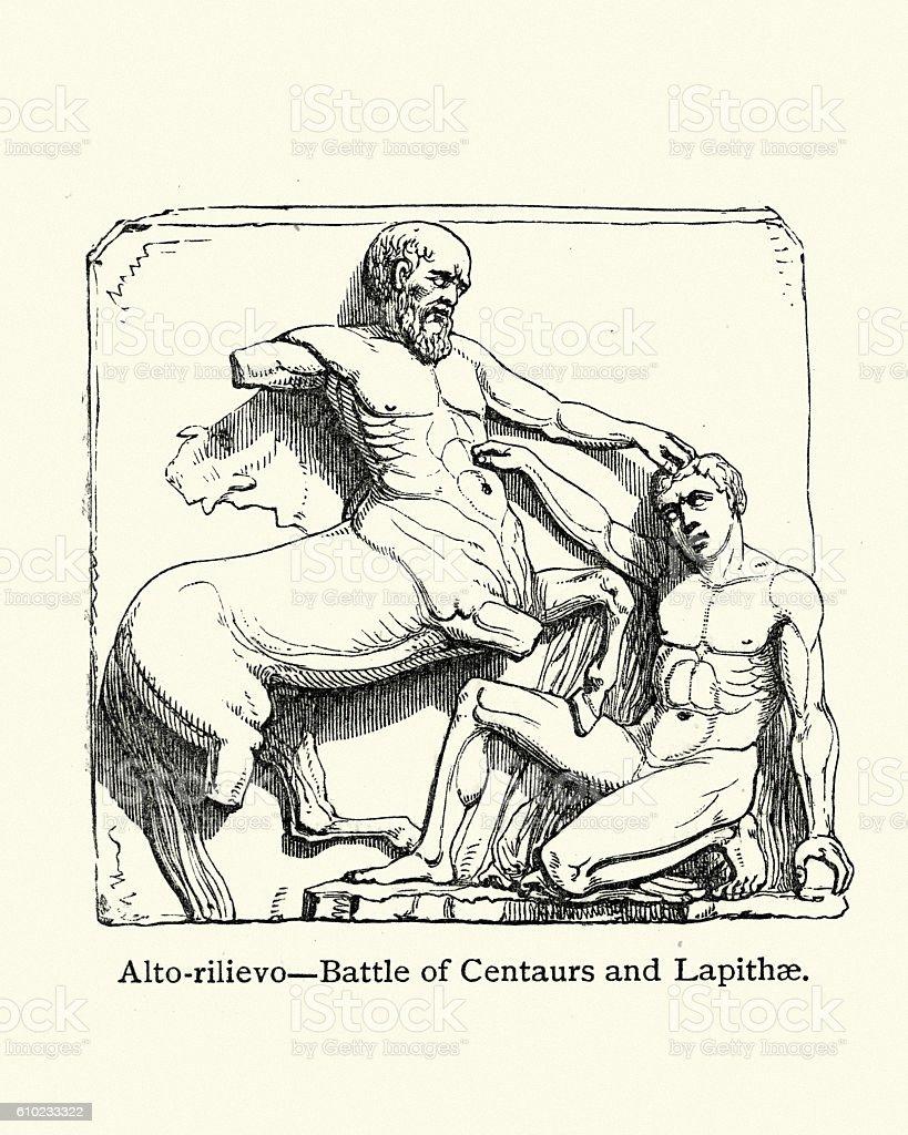 Battle of Centaurs and Lapithae vector art illustration