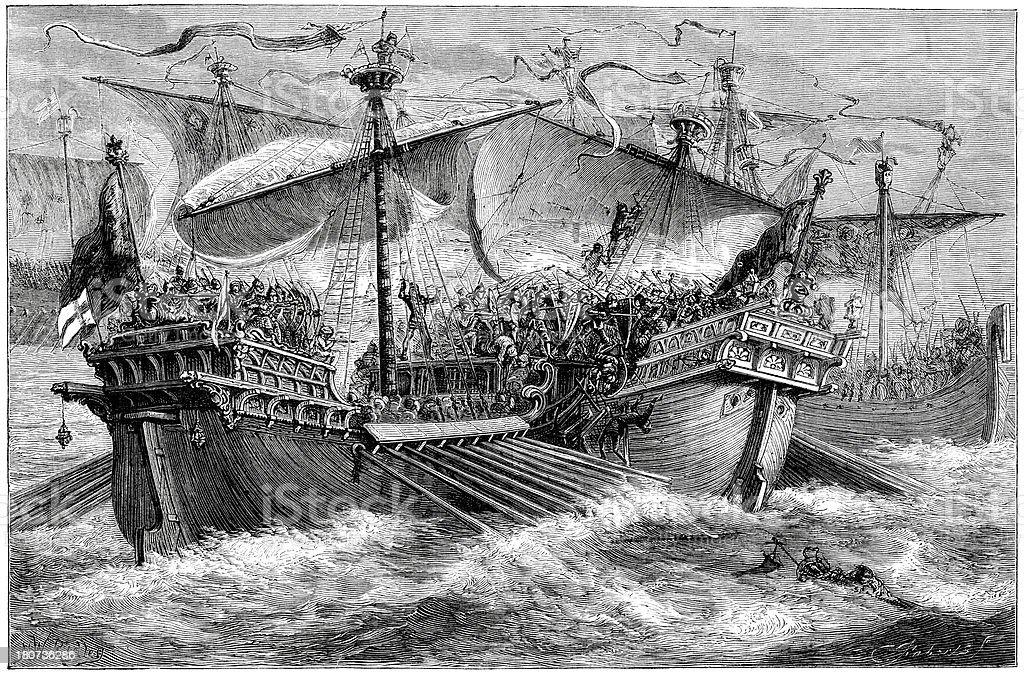 Battle of Dover 1217 vector art illustration