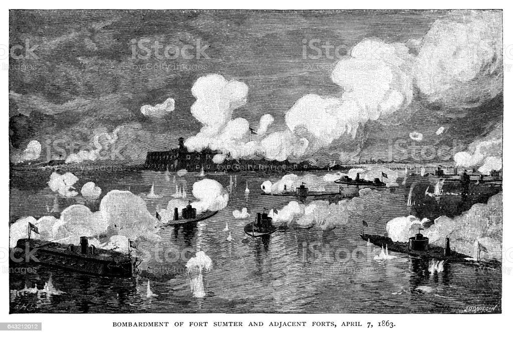 Battle of Fort Sumter vector art illustration