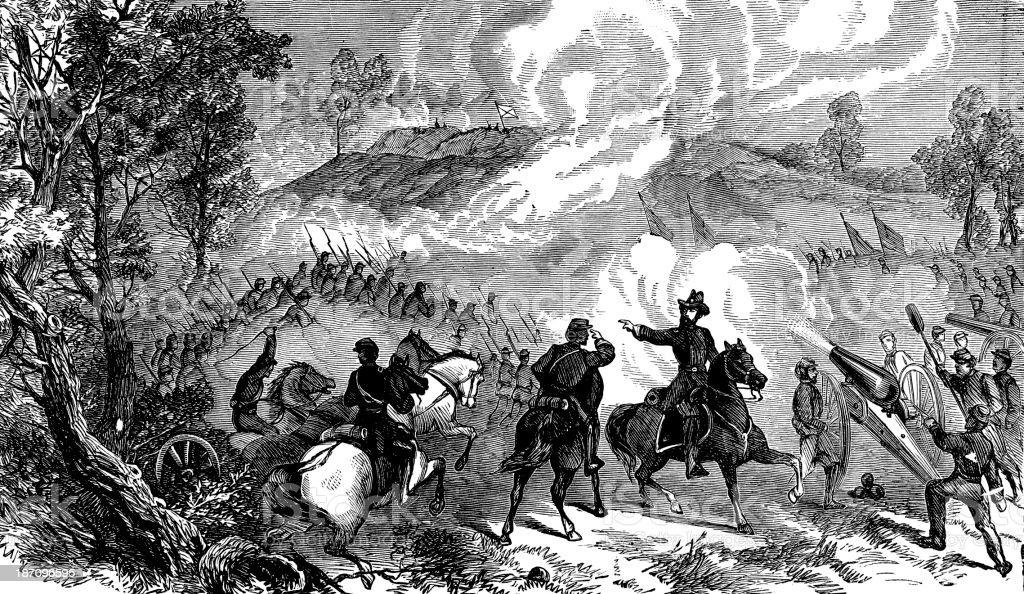 Battle of Gettysburg in 1863 vector art illustration