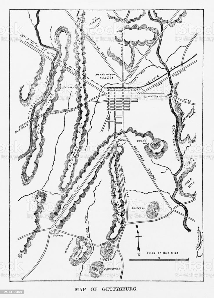 Battle of Gettysburg Map, July 3, 1863 Civil War Engraving vector art illustration