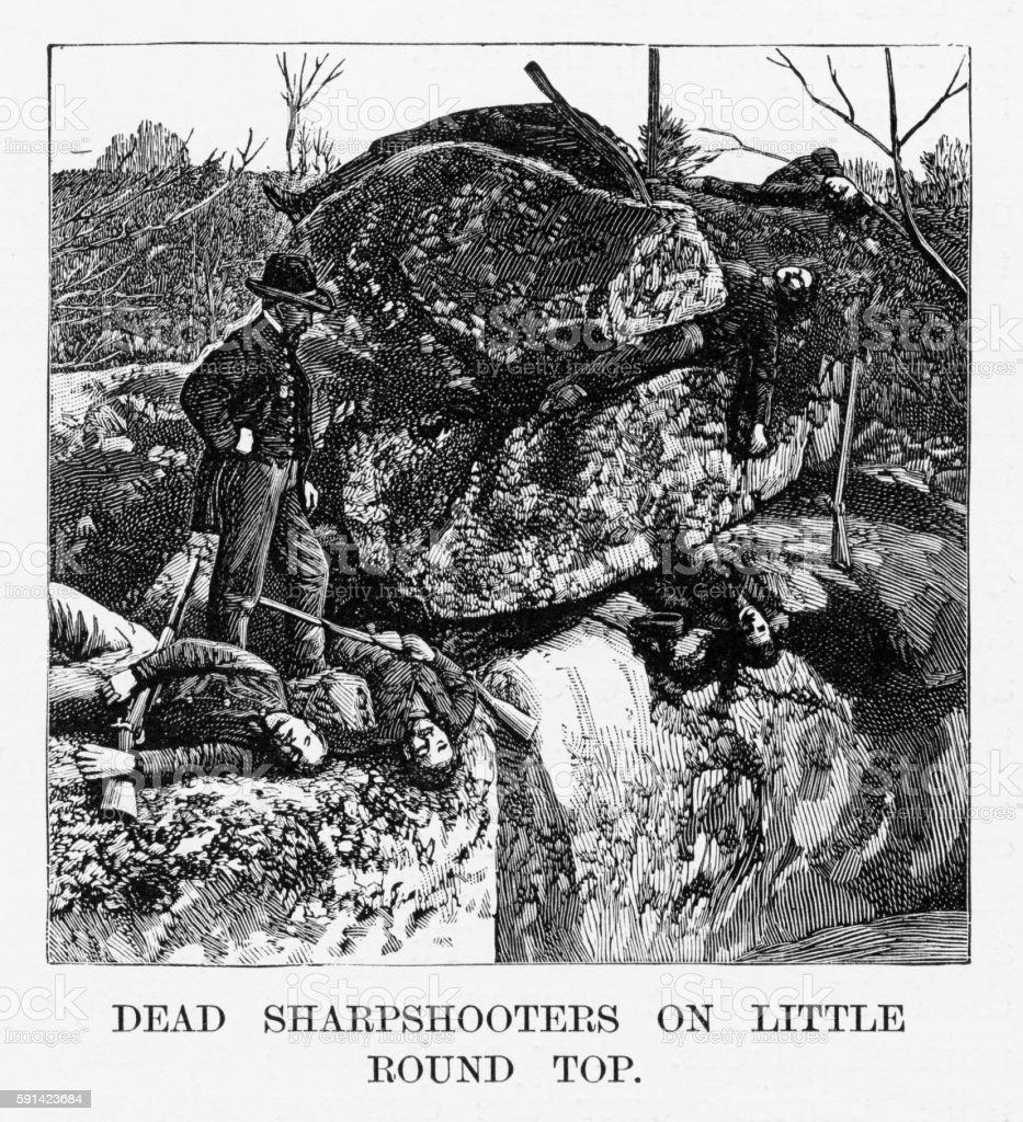 Battle of Gettysburg, Pennsylvania, Dead Sharpshooters 1863 Civil War Engraving vector art illustration