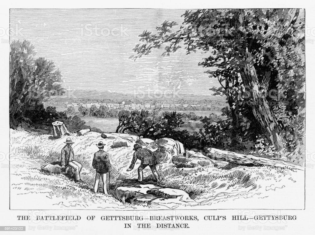 Battle of Gettysburg, Pennsylvania, July 3, 1863 Civil War Engraving vector art illustration