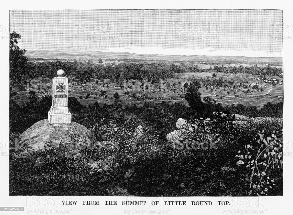 Battle of Gettysburg, Pennsylvania, Memorial Stone 1865 Civil War Engraving vector art illustration