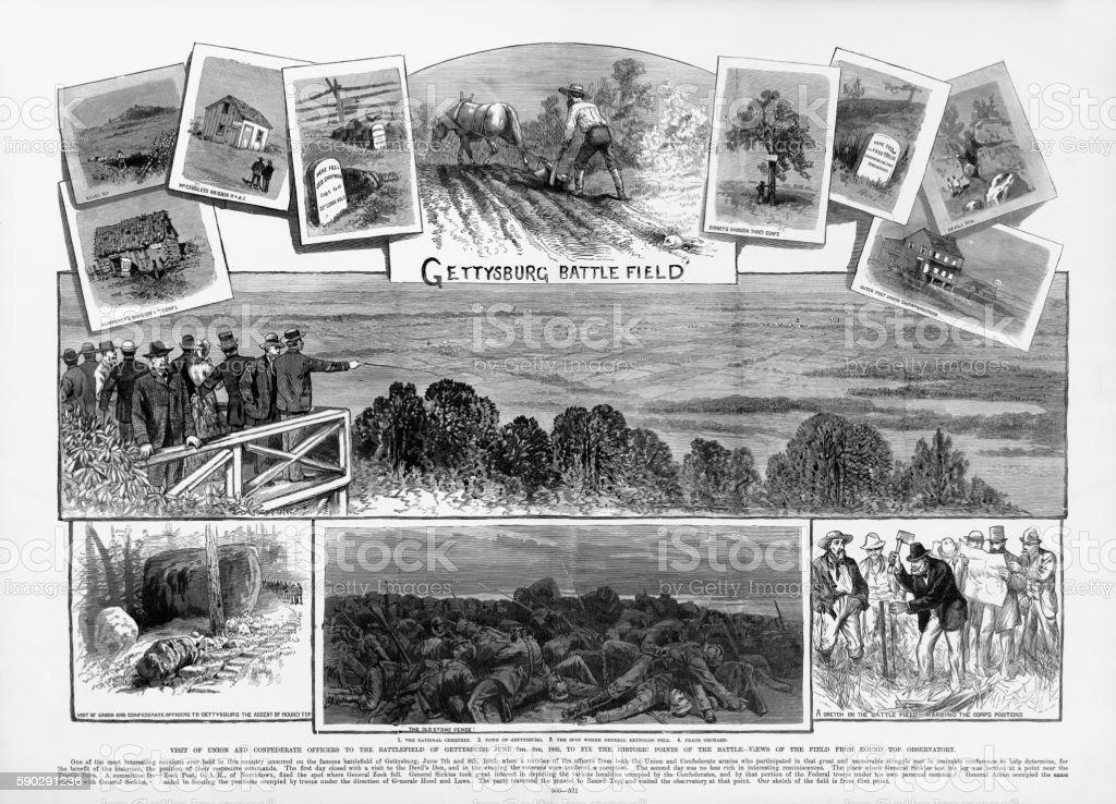 Battle of Gettysburg, Pennsylvania Officer Reunion Civil War Engraving vector art illustration