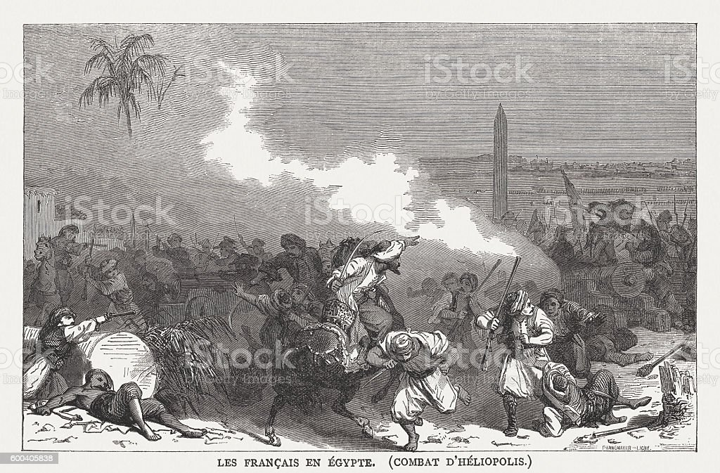 Battle of Heliopolis (1800, French campaign in Egypt),  published 1877 vector art illustration