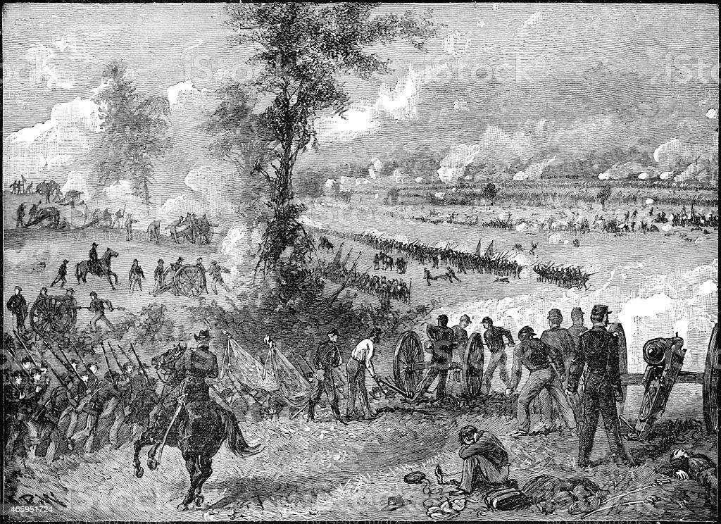 Battle of Malvern hill. Lee`s attack vector art illustration