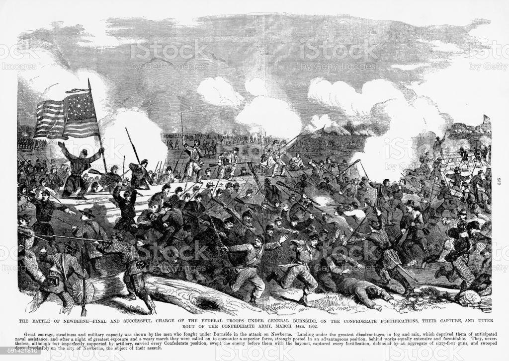 Battle of New Bern, North Carolina, 1862 Civil War Engraving vector art illustration