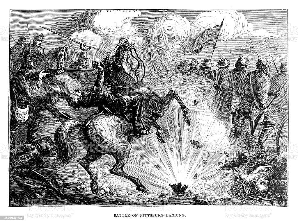 Battle of Pittsburg Landing vector art illustration