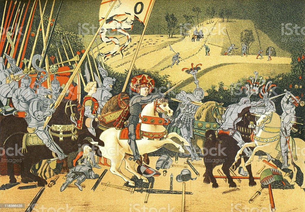 Battle of San Romano, circa 1432 vector art illustration