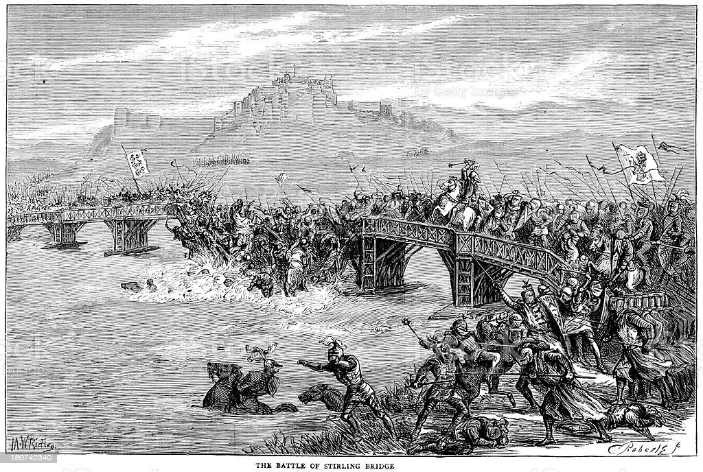 Battle of Stirling Bridge 1297 royalty-free stock vector art