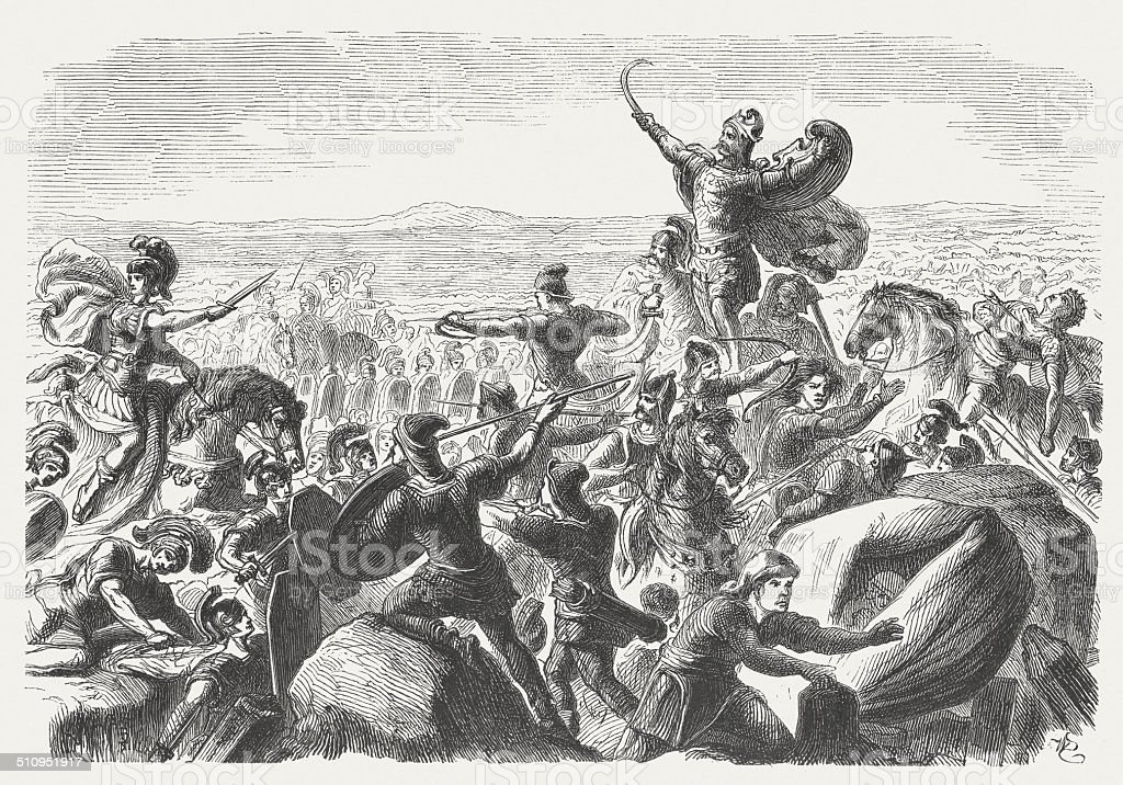 Battle of the Catalaunian Plains between Romans and Huns (451) vector art illustration