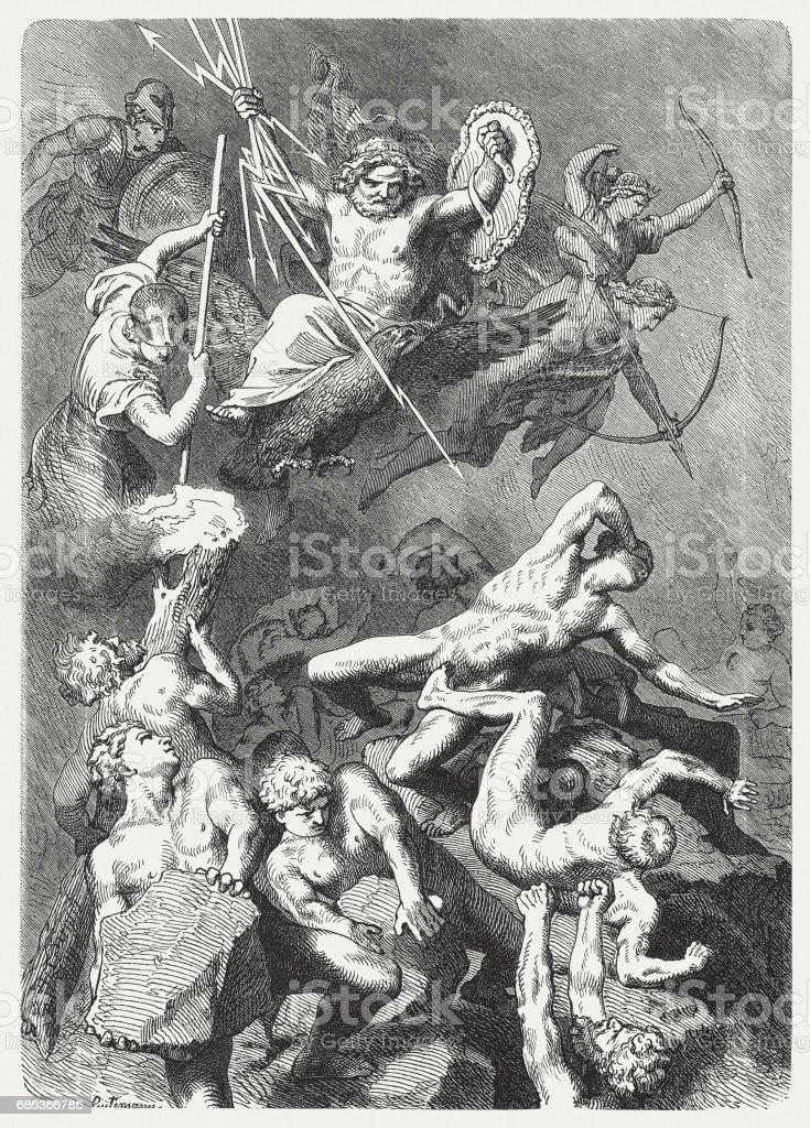 Battle of the Gods against the Titans, Greek Mythology vector art illustration