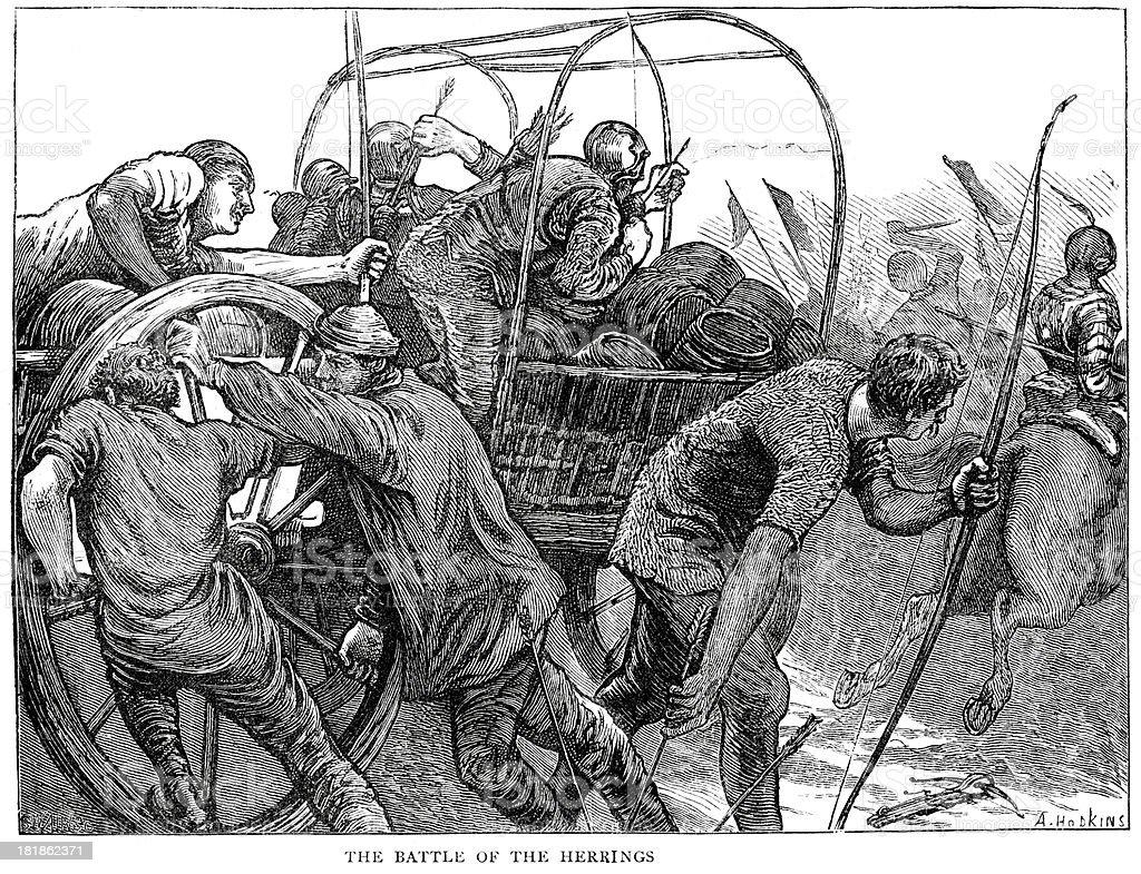 Battle of the Herrings royalty-free stock vector art