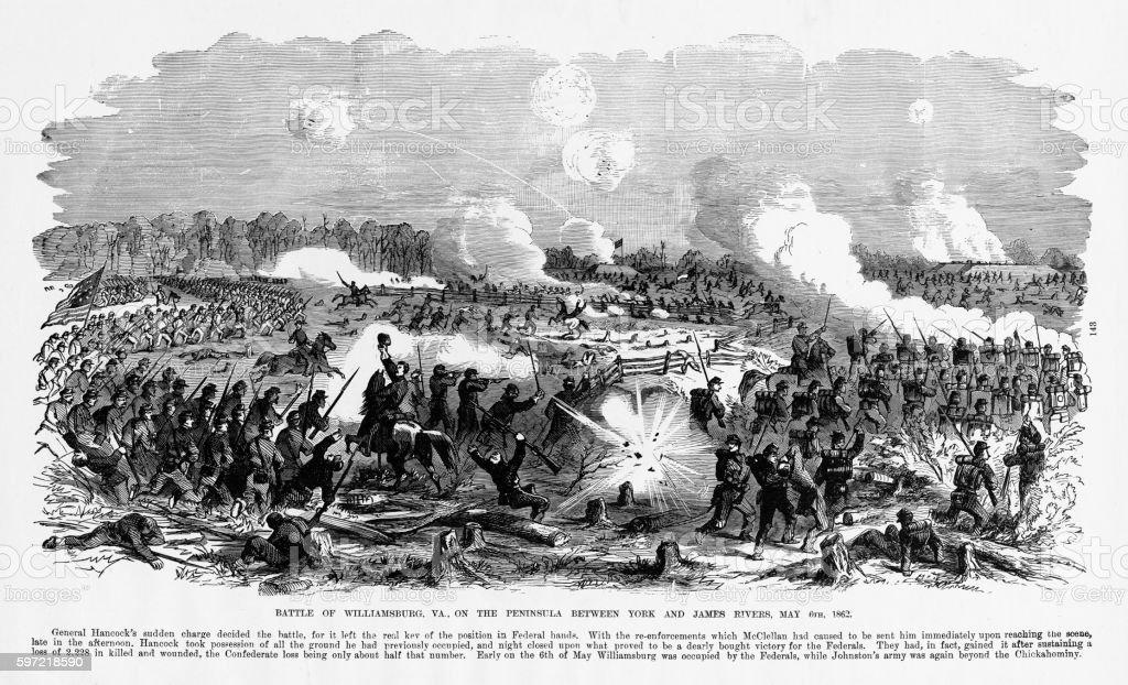 Battle of Williamsburg, Virginia, 1862 Civil War Engraving vector art illustration