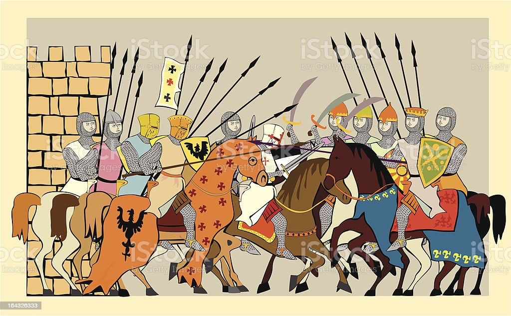 Battles of the crusades royalty-free stock vector art