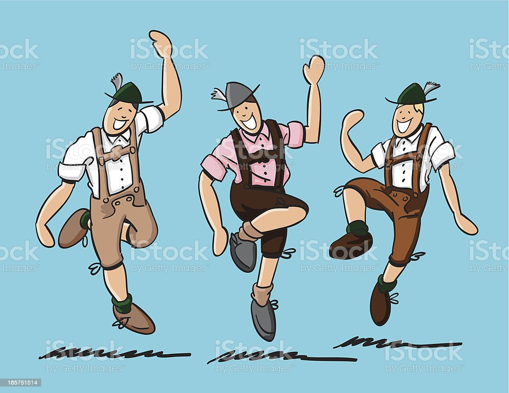 Bavarian Folk Dance Lederhosen vector art illustration