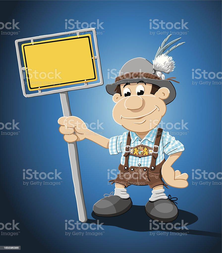Bavarian Lederhosen Man Yellow Sign royalty-free stock vector art