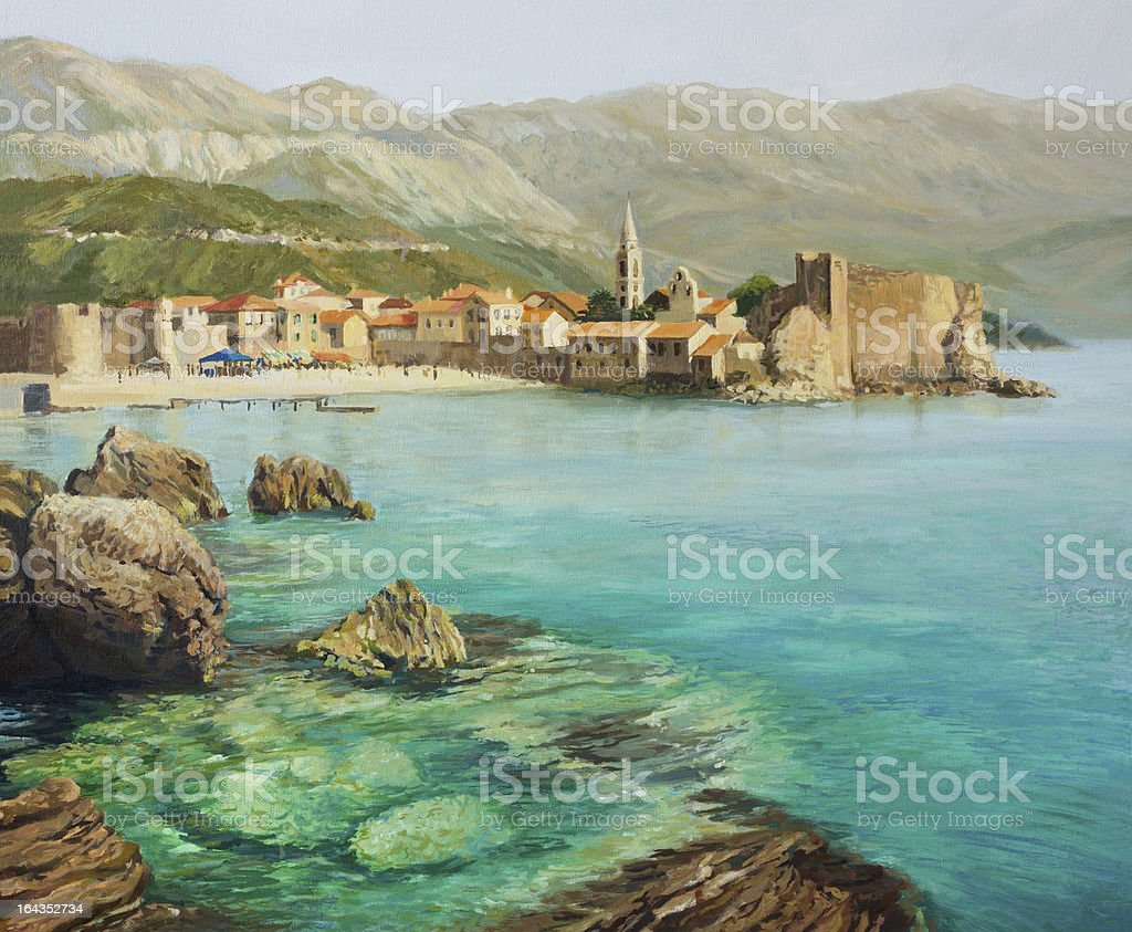 Bay Near Old Budva vector art illustration