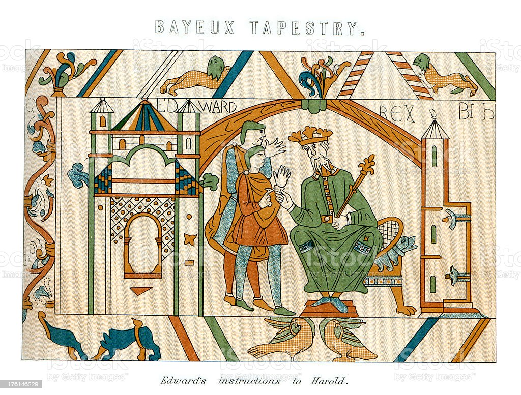 Bayeux Tapestry - Edward the Confessor royalty-free stock vector art