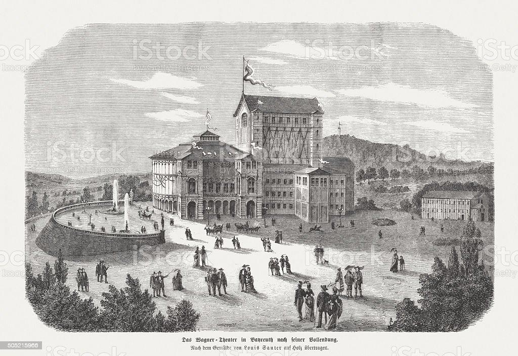 Bayreuth Festspielhaus, wood engraving, published in 1873 vector art illustration