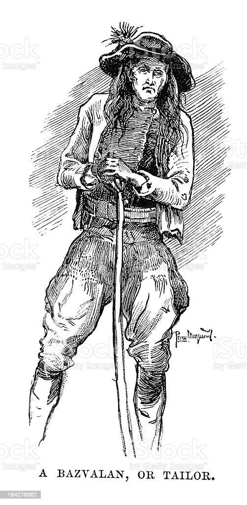 Bazvalan or Tailor vector art illustration