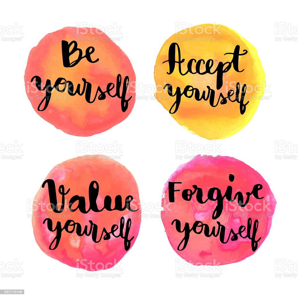 Be yourself hand lettering motivational messages vector art illustration