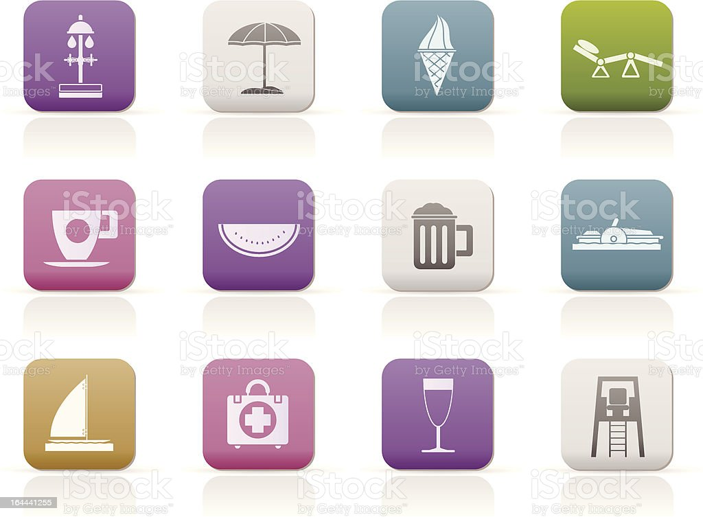 beach and holiday icons royalty-free stock vector art