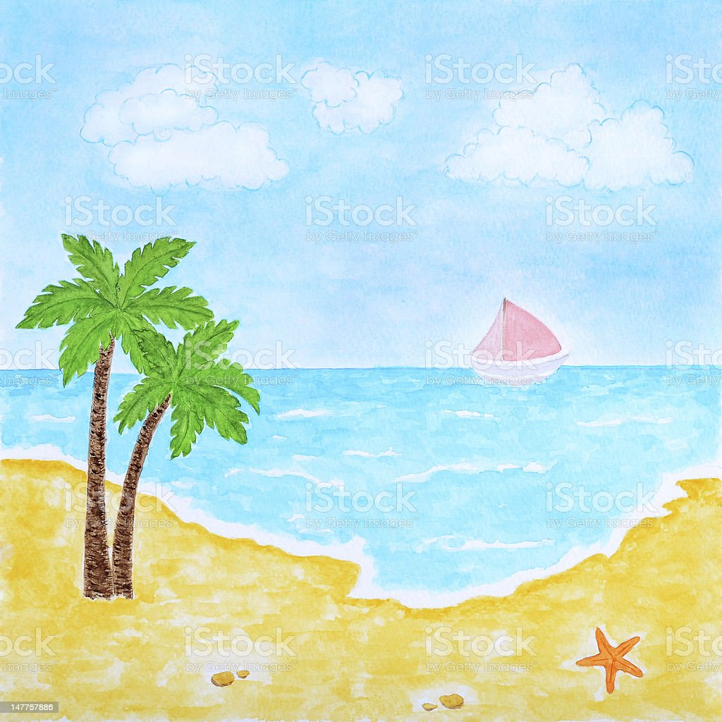 Beach and Tropical Sea or Ocean Summer Landscape royalty-free stock vector art