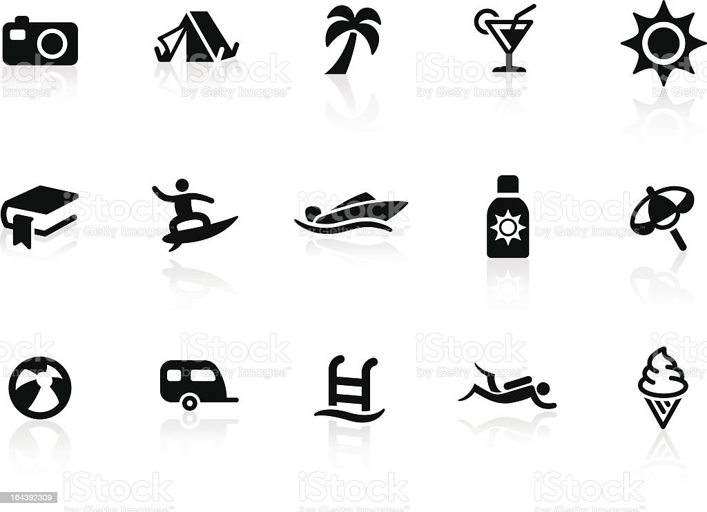 Beach and Vacation icons royalty-free stock vector art