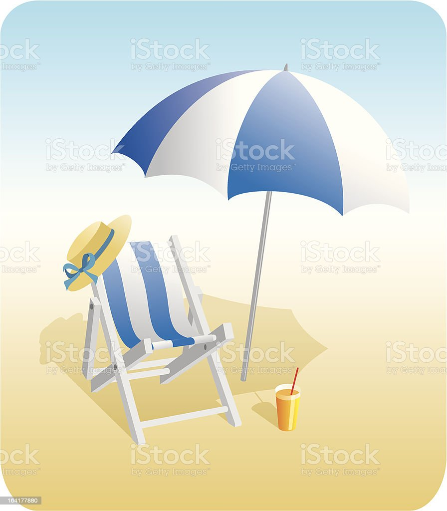 Beach chair and sunshade royalty-free stock vector art
