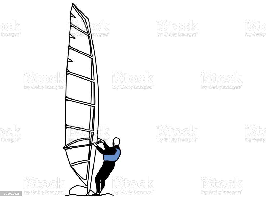 Beach Collection Wind Surfer vector art illustration