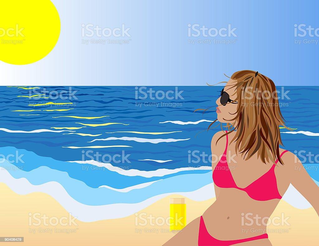 Beach Girl royalty-free stock vector art