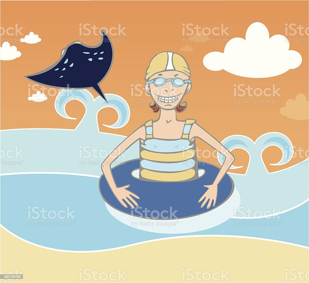 beach girl with life saver royalty-free stock vector art