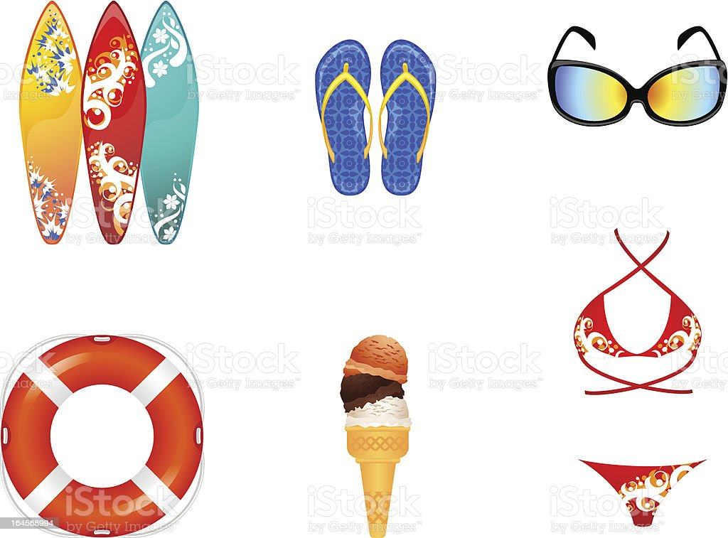 Beach items royalty-free stock vector art