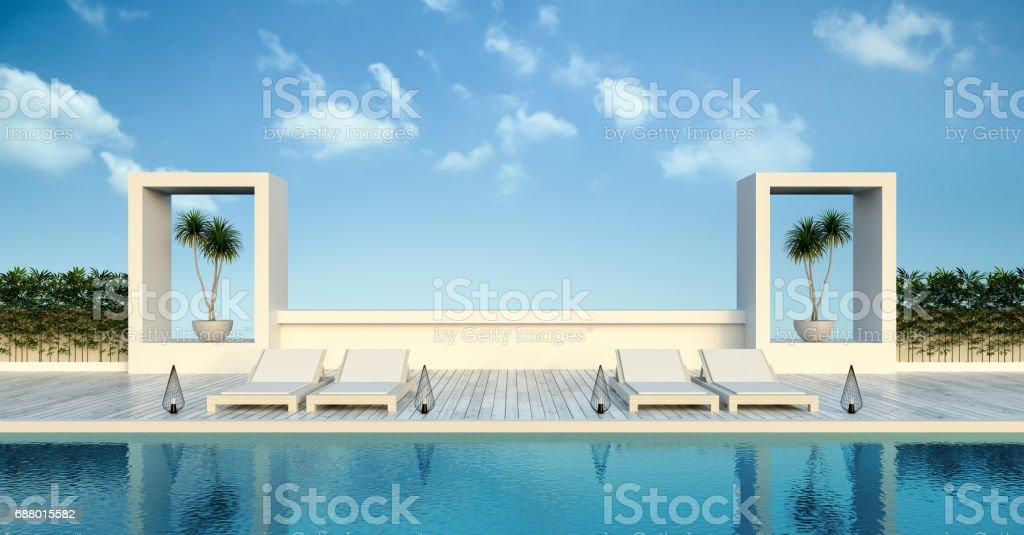 Beach living , sun loungers on Pool terrace  at luxury villa  /3d rendering vector art illustration