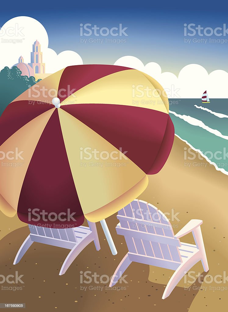 Beach travel vector art illustration